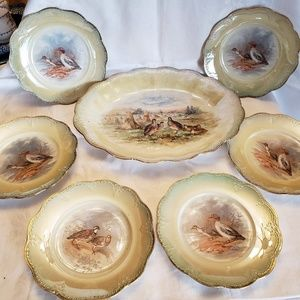 7 Pieces Limoges Bird Platter with 6 handpainted